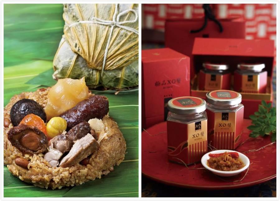 潮品集-松茸極品四寶粽(左)、潮品集-XO醬禮盒(右)。(台北神旺大飯店 提供)