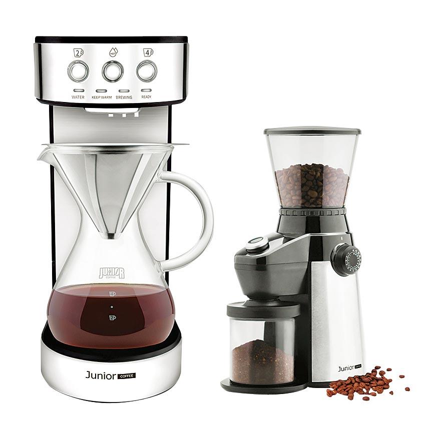 SOGO忠孝館JUNIOR職人濾泡咖啡機,原價1萬9180元、特價9900元,贈不鏽鋼濾泡壺組2人至4人+全能磨豆機。(SOGO提供)