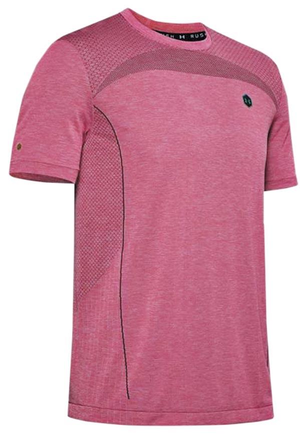 Under Armour男 RUSH Seamless T-Shirt粉色,2080元。(Under Armour提供)