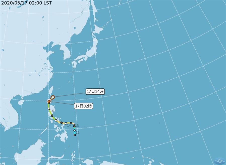 圖為黃蜂颱風路徑。(氣象局)