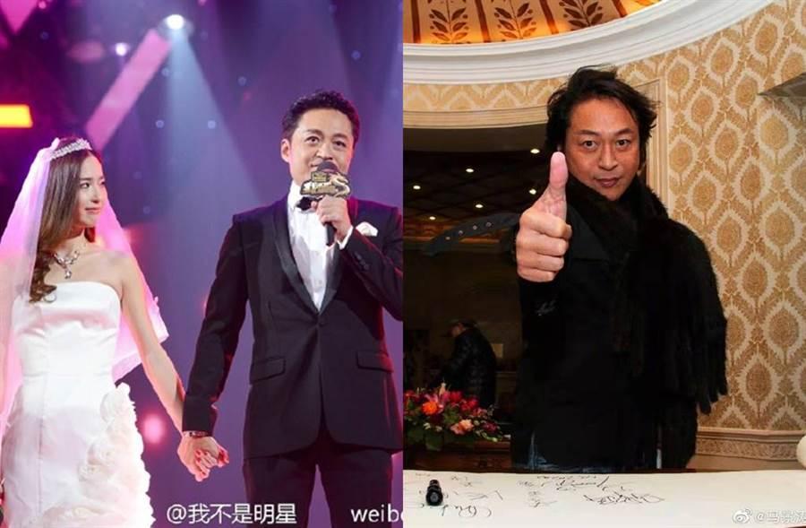 馬景濤2017年閃電宣布與嫩妻吳佳尼離婚。(圖/取材自吳佳尼、馬景濤微博)