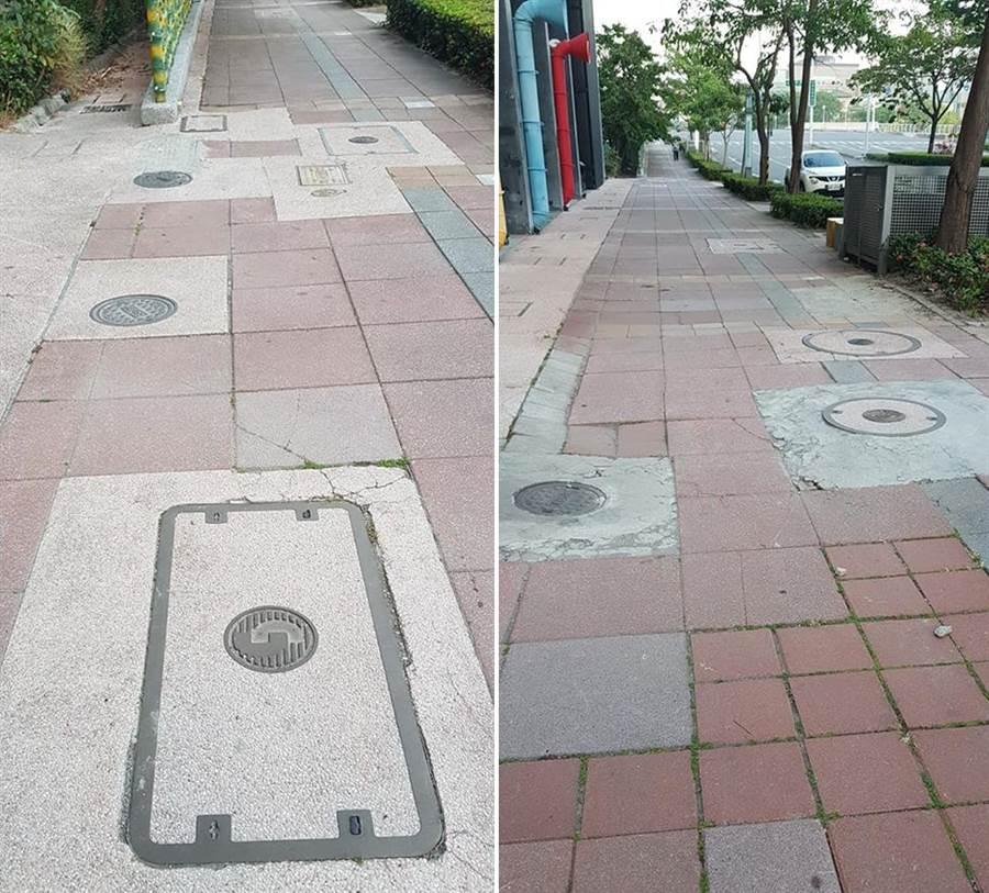 高雄市中正路一處人行道,佈滿人孔蓋。(圖/摘自葉匡時臉書)