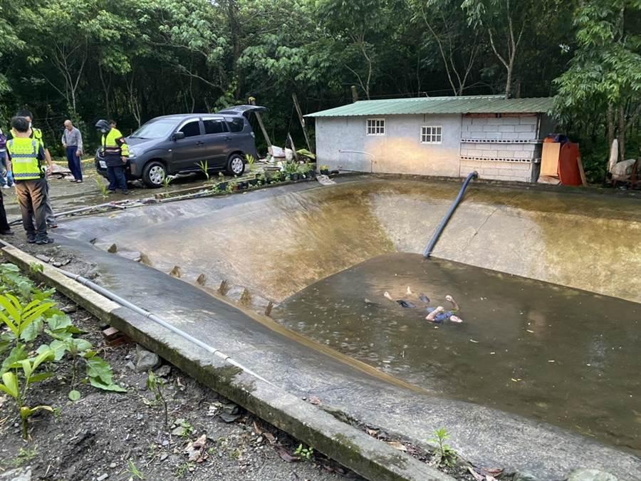 ,花蓮白鮑溪傳溺水意外,1名水電工施工被發現溺斃水池。(許家寧翻攝)