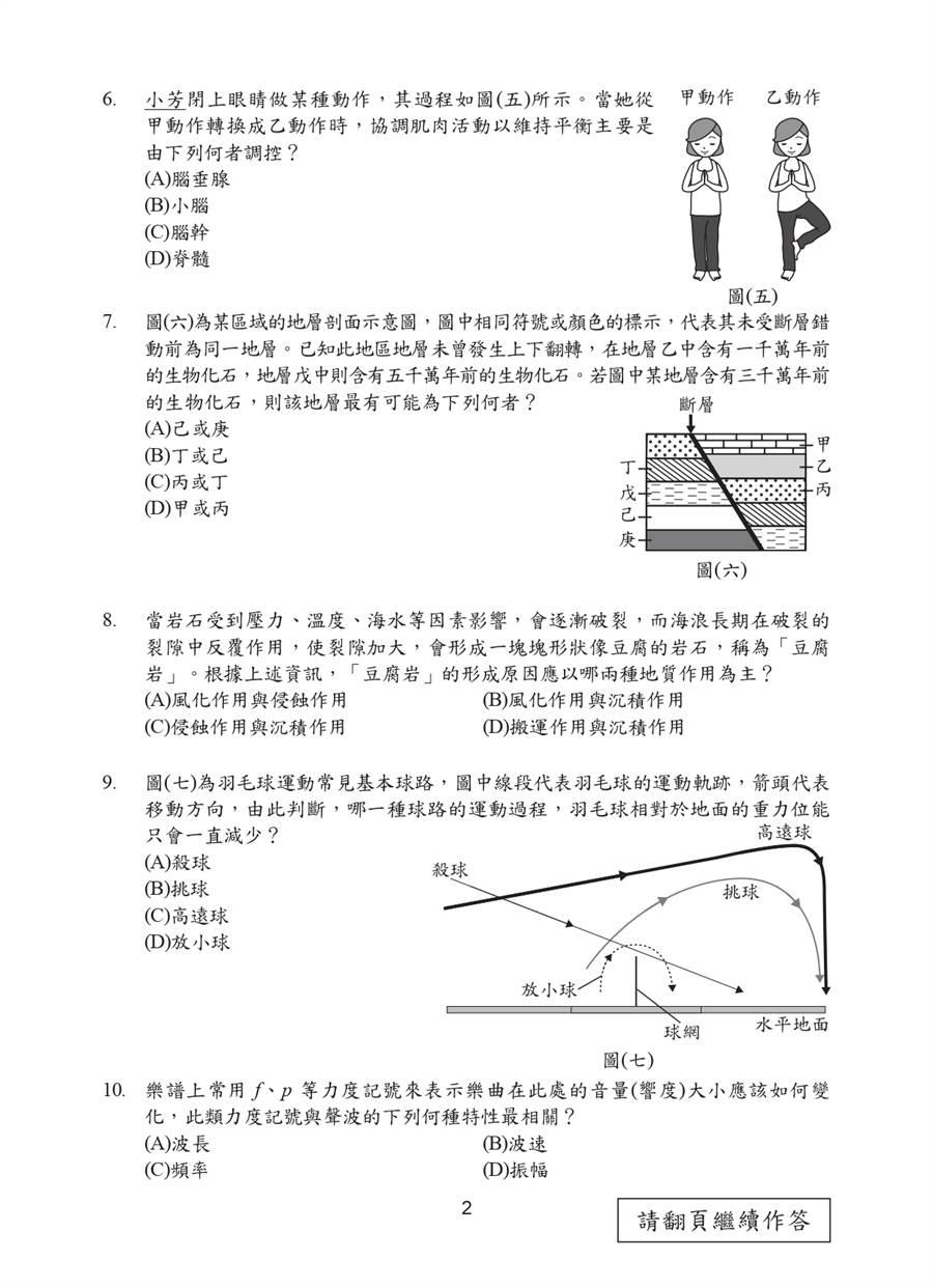 109國中會考自然科試題一覽(二)/國中教育會考推動工作委員會 提供