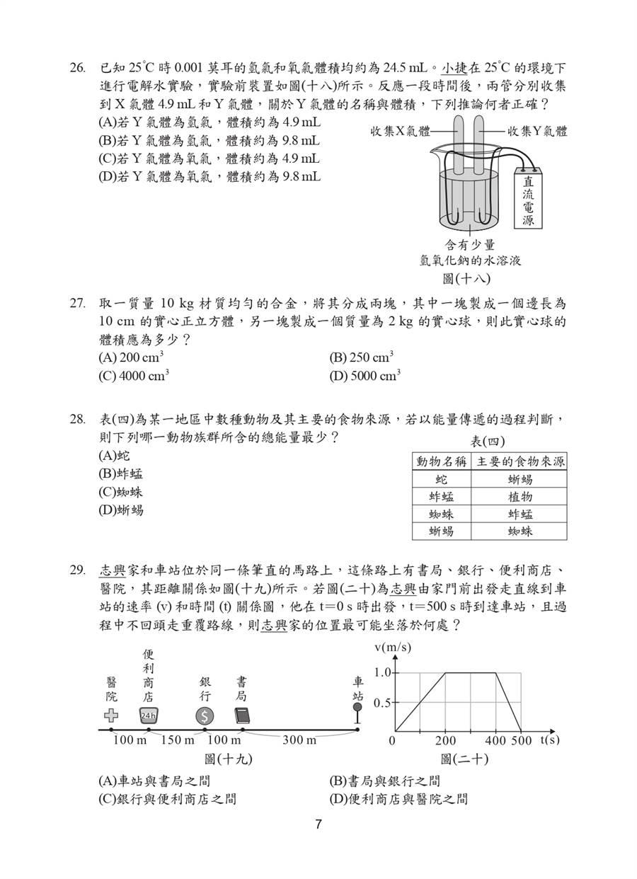 109國中會考自然科試題一覽(七)/國中教育會考推動工作委員會 提供