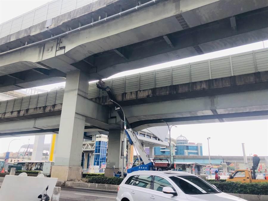 養工處正在清除新北大道、思源路口高架橋上落石(養工處提供/戴上容新北傳真)