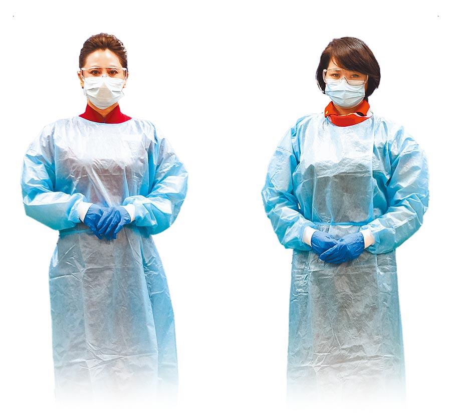 國籍航空從業人員透露,公司規定機組人員上班都要穿戴口罩、手套、護目鏡,後艙還要穿防護衣。圖為防護裝備示意圖。  (中央流行疫情指揮中心提供)