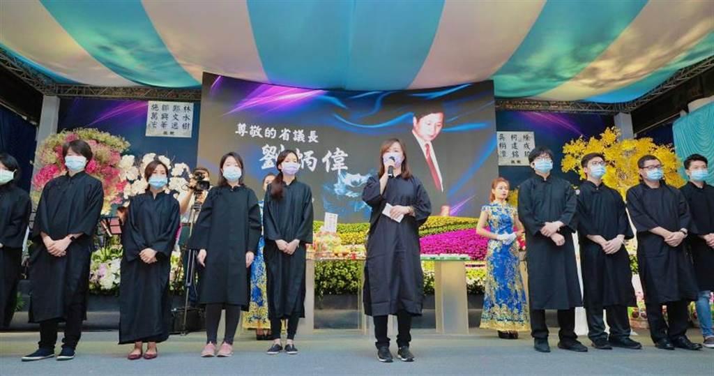 前台灣省議會議長劉炳偉上月逝世,家屬於今日舉辦告別式以供弔唁。(圖/馬景平攝)