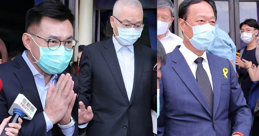 國民黨主席江啟臣(左起)、前副總統吳敦義、鴻海創辦人郭台銘。(黃世麒攝)