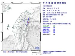 06:53花蓮近海4.4地震 最大震度花蓮3級