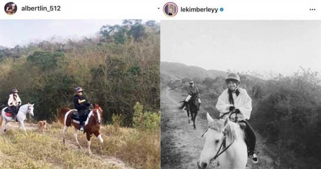愛火藏不住的陳芳語和林利豪,曾各自秀出「微同框」的騎馬出遊照。(圖/翻攝自IG)
