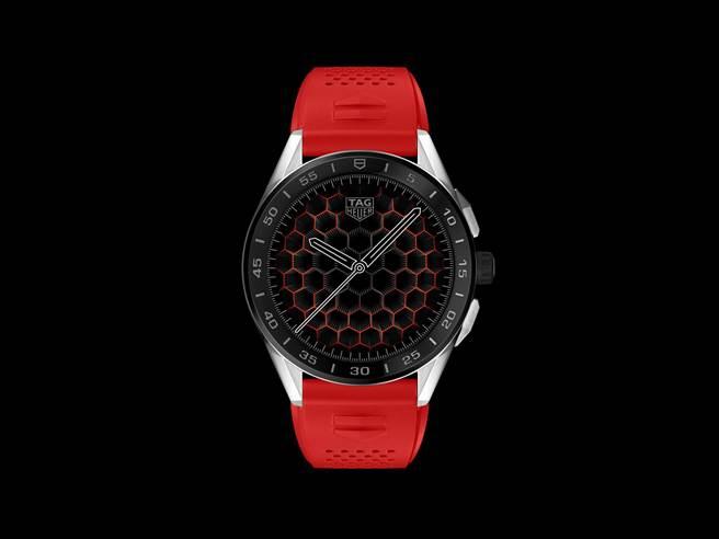 泰格豪雅Connected智能表,以紅色表帶象徵火熱的愛心,5萬8900元。(TAG Heuer提供)