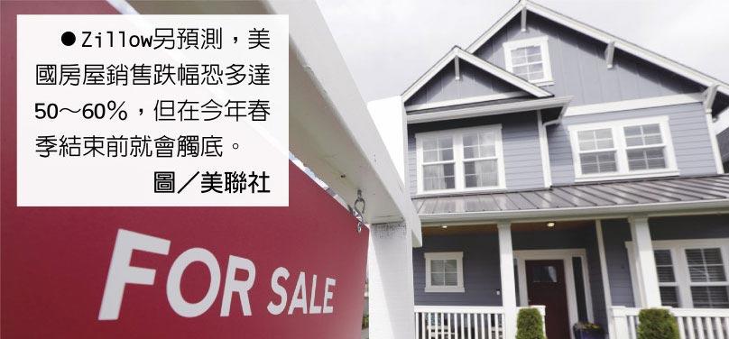 Zillow另預測,美國房屋銷售跌幅恐多達50~60%,但在今年春季結束前就會觸底。圖/美聯社