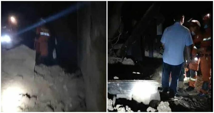 搜救隊員拍下前進災區影片。(合成圖/央視新聞微博)