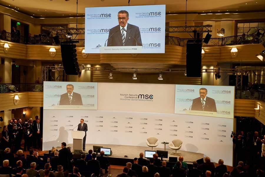 當地時間2月15日,世界衛生組織(who)祕書長譚德塞出席第56屆慕尼黑安全會議並致詞。(中新社)