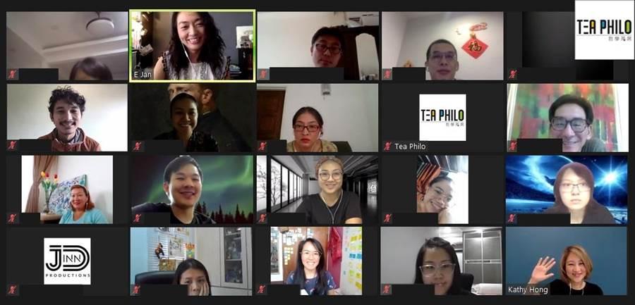 PANDA表演藝術網絡發展協會理事長洪凱西(右下),於線上分享藝術行銷經驗。(文化部提供)