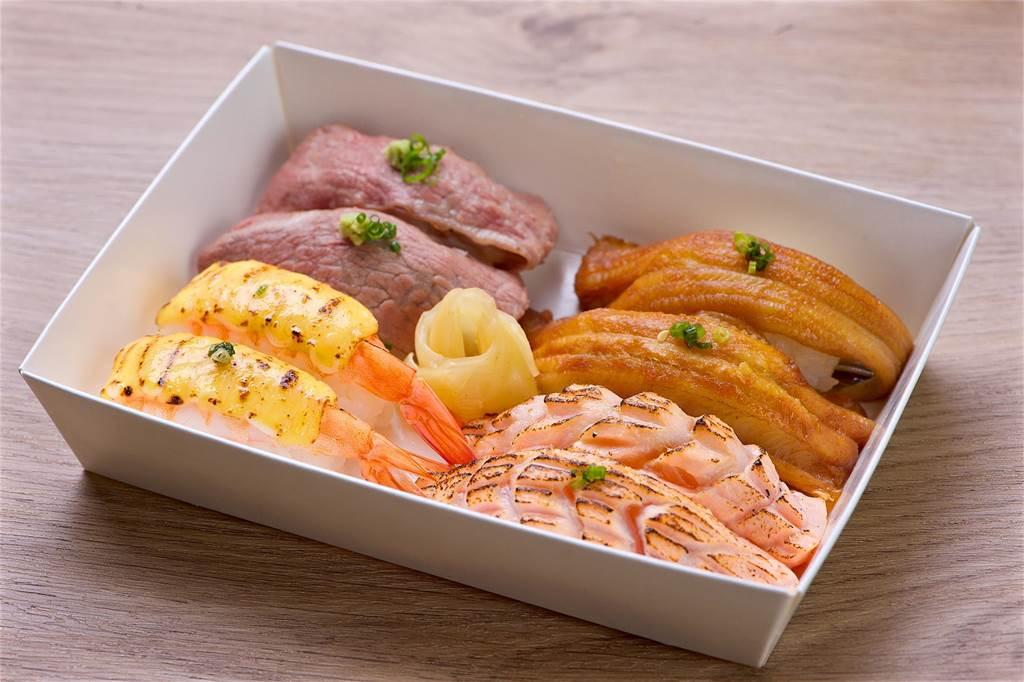 澄江日本料理每日限定的「海陸炙燒握壽司」外帶餐盒,每盒280元。(台北神旺大飯店提供)
