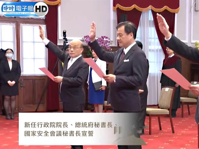 行政院長蘇貞昌(左)、總統府祕書長蘇嘉全(右)。