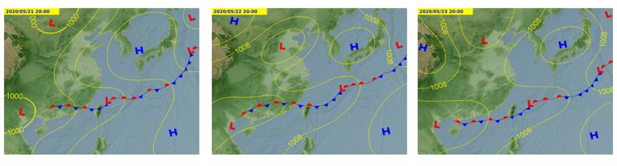 圖為5 月21日至23日預測圖,鋒面逐漸北移,加上西南風增強。(氣象局)