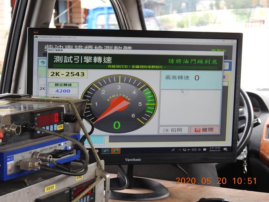 環保人員檢測柴油車引擎及排煙狀況。(南投縣環保局提供/廖志晃南投傳真)