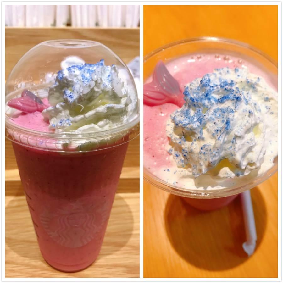 不少人PO星巴克美人魚星冰樂照,由於杯蓋壓到飲料,因此美人魚巧克力有點往下沉(圖/網友提供)