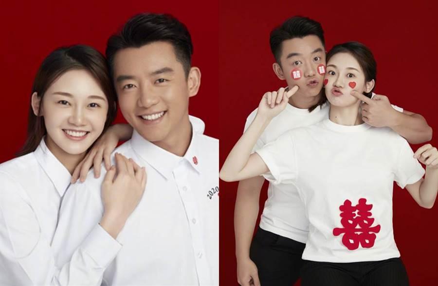 鄭愷與演員苗苗選在下午1點14分,1314象徵一生一世,宣布結婚喜訊。(圖/取材自鄭愷微博)