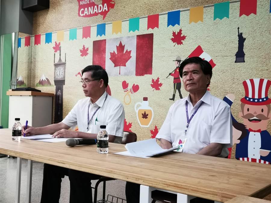 明道大學校長郭秋勳(左)表示,史瓦帝尼媒體未經求證,就大幅報導認為有失公正,當時也有發函要求刊登本校聲明稿,但未得到回應。(吳建輝攝)