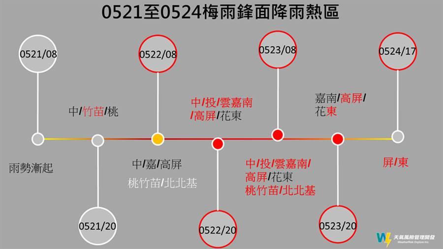 賈新興指出,這波降雨主要集中在「中南部山區」居多,預計最關鍵的降雨將從21日(周四)晚上8點左右開始。(摘自賈新興臉書)