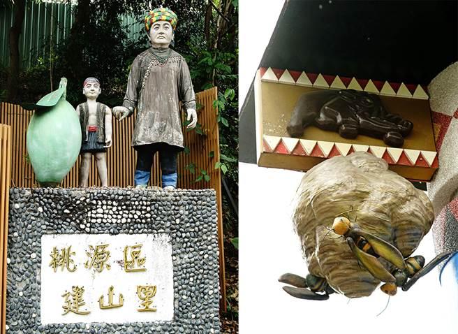 從台20線轉進建山部落時,路口即有布農族人雕像;虎頭蜂窩是建山部落的一大特點。(攝影/曾信耀/Takao樂高雄/提供)