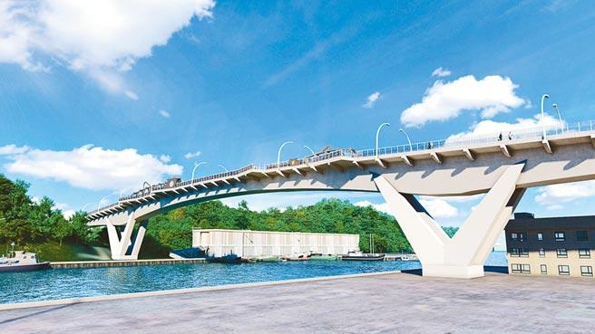 南方澳跨港大橋重建工程,預計今年10月初開始施工,新橋造型元素是南方澳的特產鯖魚。(蘇花改工程處提供/李忠一宜蘭傳真)