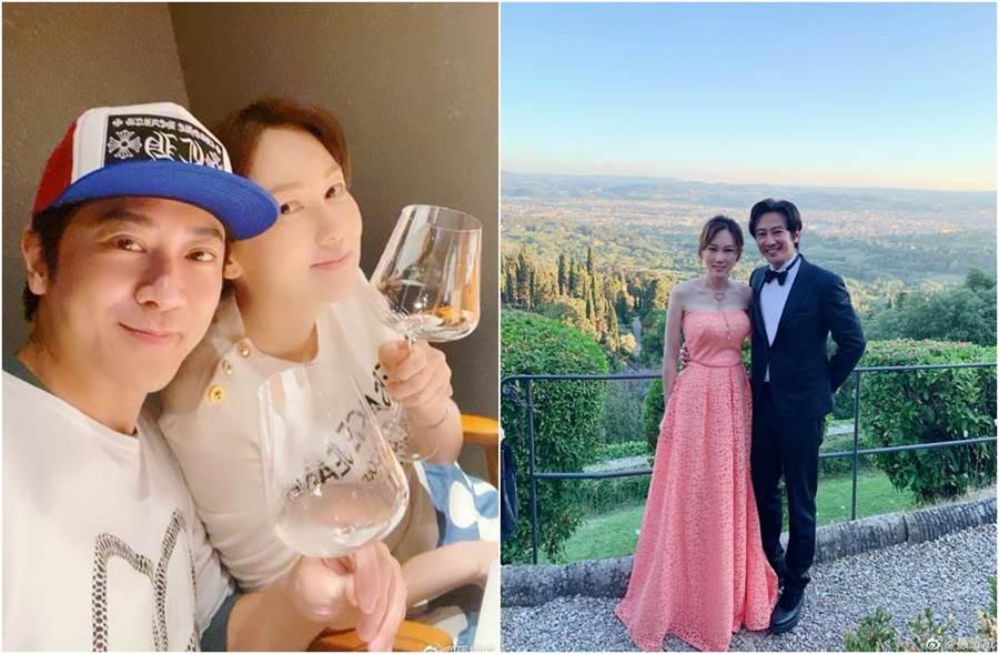 孫耀威和陳美詩於2017年結婚。(圖/翻攝自微博)