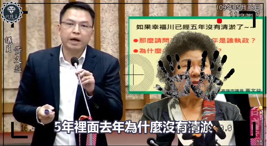 民進黨高雄市議員黃文益質詢韓國瑜。(圖/翻攝自 比特王Youtube頻道)