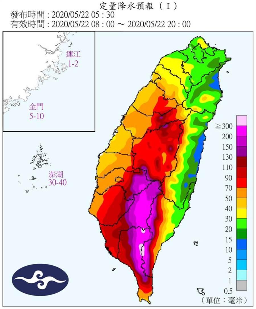 台灣雨降水預報圖。(圖/翻攝自賈新興臉書)