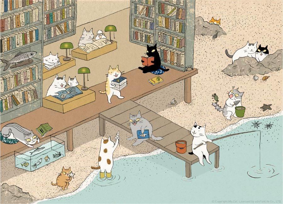 「夏日療癒插畫季」,6月1日起於誠品生活南西首波登場!首場插畫季以「貓咪與海」為主題;圖為台灣療癒系插畫家貓小姐攜手創作之主視覺「海洋圖書館」。(誠品提供)