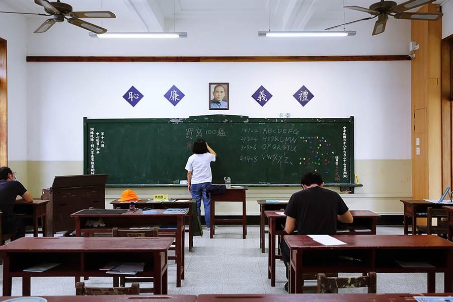 走進復刻教室,黑板牆、木頭課桌椅,穿越時光回憶兒時滿滿的感動。(攝影/Carter)