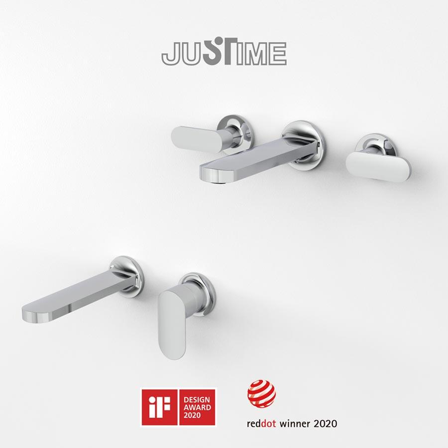 巧時代「Charming+」壁式面盆水龍頭同時獲頒iF及reddot設計獎肯定。圖/巧時代提供