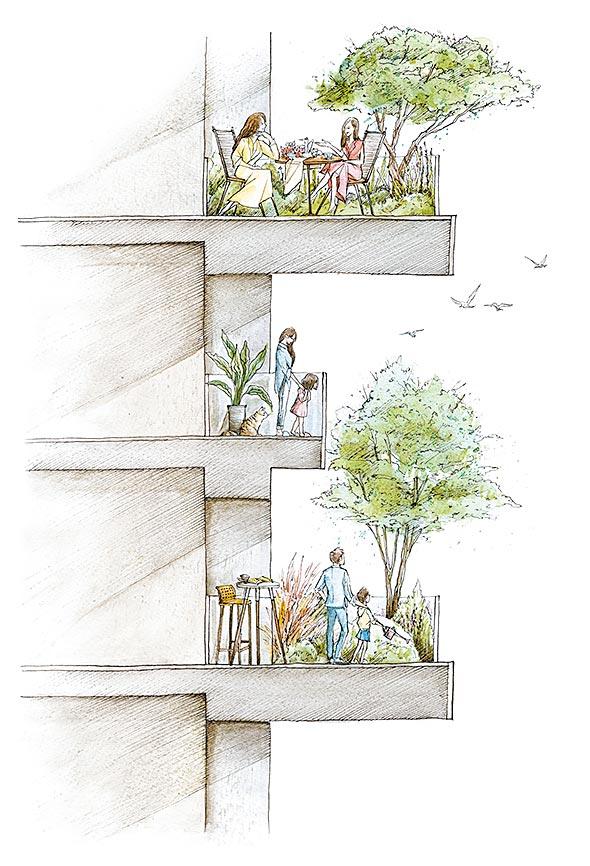 「漢宇建設單元12新案」以大範圍的綠化陽台作為立面主軸,遠看建築就如同一座生機盎然的大樹,以超前法規的的手筆創造真正符合永續立意的「宜居建築」,大樹草花、生態跳島、冷島效應皆成為可以預見的未來建築。圖/漢宇建設提供