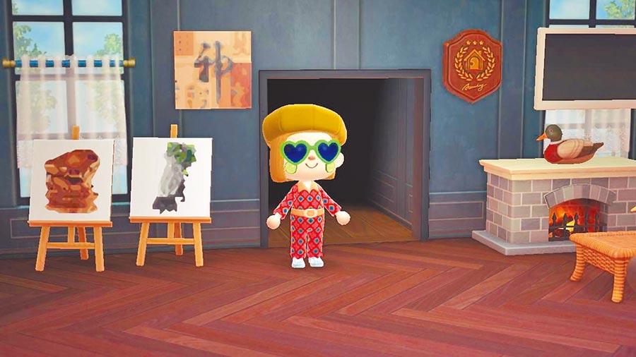 故宮釋出22文物圖像,供任天堂遊戲《集合吧!動物森友會》玩家下載,遊戲中擺著〈翠玉白菜〉、〈肉形石〉圖像,牆上掛著東晉 王羲之的〈快雪時晴帖〉。(故宮提供)