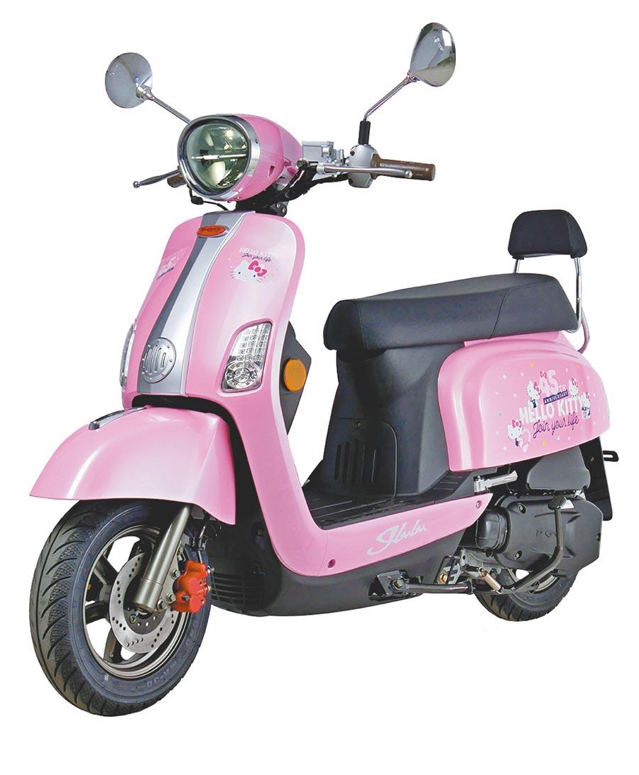 PGO與三麗鷗SANRIO合作推出45周年Hello Kitty J-bubu聯名版,售價8萬900元,限量1520台。(摩特動力提供)