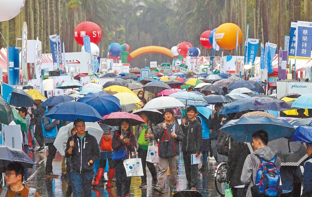 圖為去年台灣大學校園徵才企業博覽會,大雨中仍吸引許多求職者參加。(趙雙傑攝)