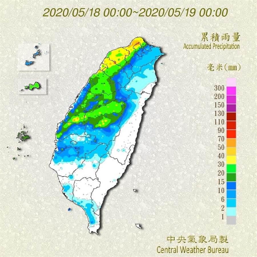 賈新與今po出18日氣象局雨量圖,初步校驗梅雨預測。他指出,5/18判斷鋒面前緣防午後,確實是鋒面前但午後降雨不明顯。(圖擷自氣象局)