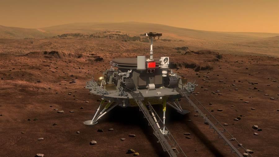 天問一號火星車。(新華社/中國國防科工局探月與航天工程中心)