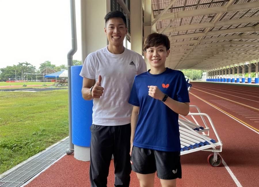 鄭怡靜(右)與陳傑相互當起對方的專業教練。(鄭怡靜提供)
