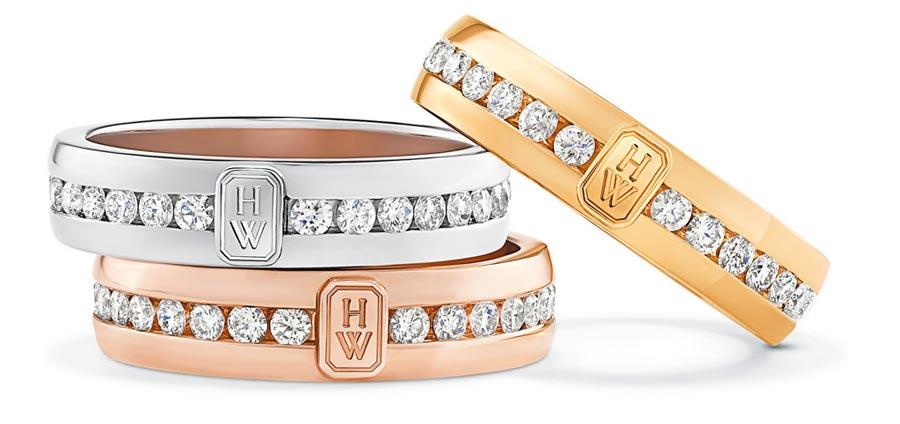海瑞溫斯頓的經典Logo「HW」系列珠寶,有丈夫(HUSBAND)與妻子(WIFE)偕老的意義。(Harry Winston提供)