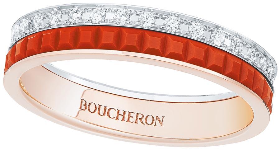 寶詩龍的經典Quatre Red玫瑰金婚戒。(Boucheron提供)