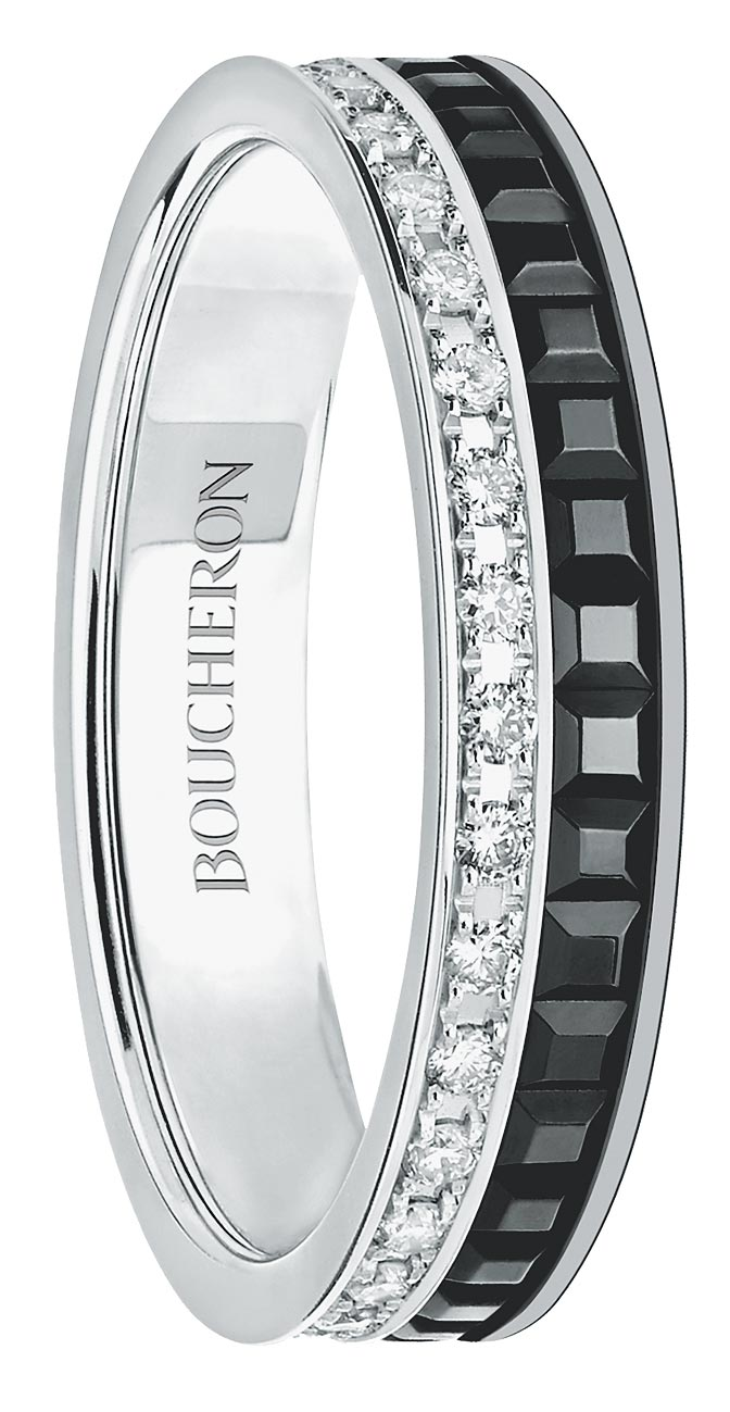 寶詩龍的經典Quatre Black白金鑲鑽婚戒。(Boucheron提供)