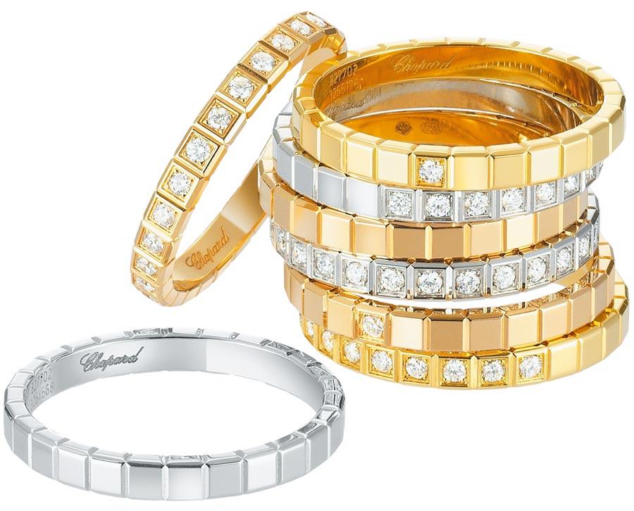 蕭邦Ice Cube系列婚戒,皆以公平交易認證的黃金打造,別具意義。(CHOPARD提供)
