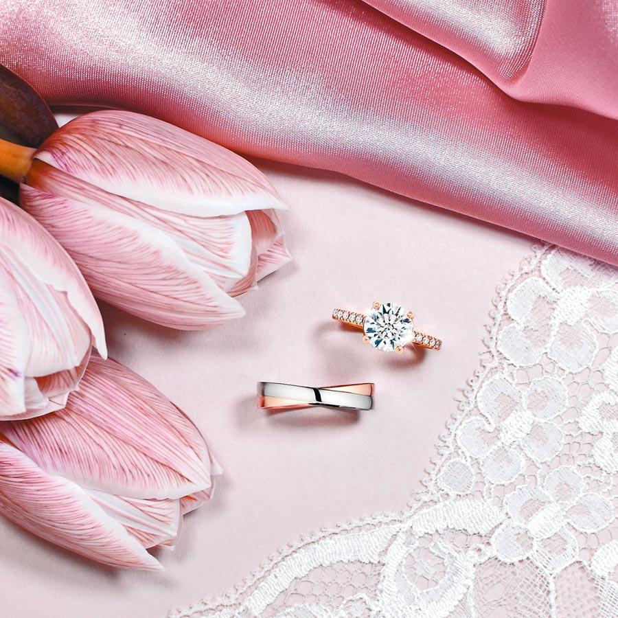 HEARTS ON FIRE在結婚季推出買一送一活動,買鑽戒就送3萬9000元的男戒。(HEARTS ON FIRE提供)