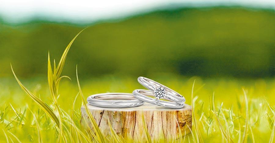 日系珠寶品牌K.UNO的推薦婚戒,融入大自然元素。(K.UNO提供)