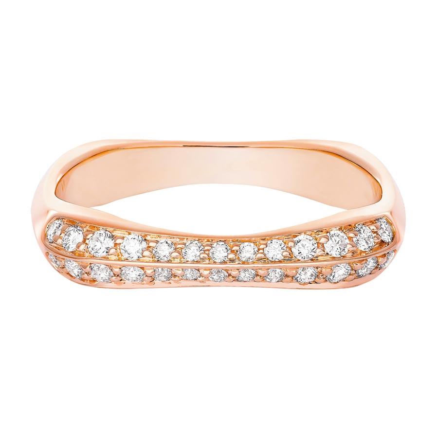 FRED在婚季主打Bridal系列玫瑰金鑲鑽戒指,9萬1300元。(FRED提供)